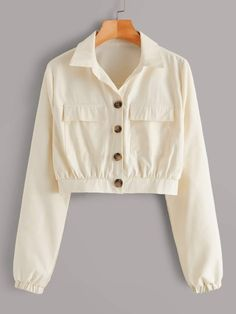 Shop Solid Dual Pocket Crop Trucker Jacket at ROMWE, discover more fashion styles online. Kpop Fashion Outfits, Girls Fashion Clothes, Indian Fashion Dresses, Girl Outfits, Crop Top Outfits, Cute Casual Outfits, Pretty Outfits, Designs For Dresses, Trendy Dresses