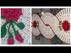 Botão de Rosa para Aplicar no CENTRO /  CAMINHO DE MESA INFINITO  EM CROCHÊ   CRISTINA COELHO ALVES - YouTube