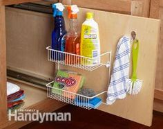 Keep small stuff from getting lost in deep base cabinets, roll out storage panel for supplies ~ familyhandyman.com