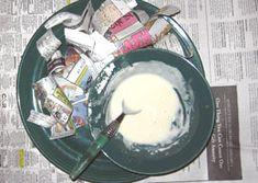 Tried and true recipes for classic Papier Mache and gesso! Paper Mache Paste, Paper Mache Clay, Paper Mache Crafts, Diy Paper, Paper Art, Fun Crafts, Crafts For Kids, Decor Crafts, Paste Recipe