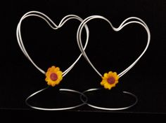 Wire Place Card Holders for Wedding or Shower, Set of 10 Standing Heart Shaped Table Name Holders with Sunflowers, Photo Holders, Wire Art. $35.00, via Etsy.