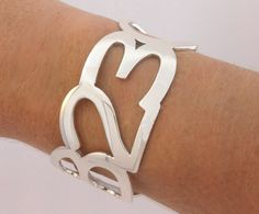 Anniversary Date Bracelet, Sterling Silver Cuff, Bridal Jewelry, Personalized Jewelry on Etsy, $199.00