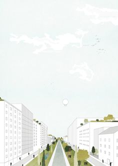 Image 3 of 21 from gallery of Tirana Watch How Nature and Urbanism Will Co-Exist in the Albanian Capital. Aerial view of the city centre masterplan. Image Courtesy of Attu Studio Architecture Collage, Landscape Architecture, Architecture Diagrams, Architecture Portfolio, Photomontage, Urban Landscape, Landscape Design, Urbane Analyse, Plan Maestro