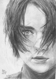 This is a pencil sketch of Arya Stark of Game of Thrones. Dessin Game Of Thrones, Game Of Thrones Drawings, Game Of Thrones Artwork, Game Of Thrones Sansa, Game Of Thrones Poster, Arya Stark Art, Pencil Drawings, Art Drawings, Game Of Trones