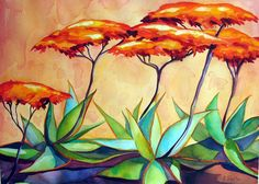 Aloe & Lotusland Wall.   Limited edition prints available at karinshelton.com. Tequila Agave, Downtown Santa Barbara, Limited Edition Prints, Aloe, Succulents, Paintings, Create, Garden, Garten