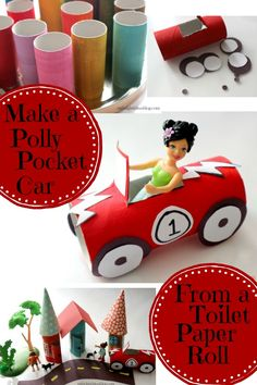 Make a Polly Pocket Car out of toilet paper roll! Fun, Easy and cheap kids crafts! mybrightideasblog.com
