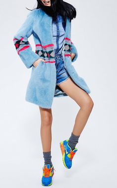 Dyed Mink Coat With Colored Fur Intarsia by MATE OFFICIAL for Preorder on Moda Operandi