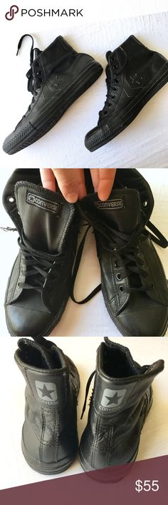 Converse All-Star Black Leather High Tops 8.5 Unisex Buttery Soft Black Leather Converse Chuck Taylor All-Star High Tops Men's Size 8.5 (women's 10). Edges of the stars curl up a bit on the ends (as shown). Soles and treads in good condition. Could use new laces on one shoe. Converse Shoes Sneakers