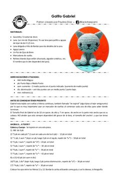 Patron Amigurumi - Gatito Gabriel By Bla - Diy Crafts Crochet Bunny Pattern, Crochet Patterns Amigurumi, Crochet Toys, Crochet Baby, Free Crochet, Knitting Patterns, Sewing Basics, Stuffed Animal Patterns, Crochet Animals