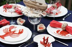Host a NAUTICAL Dinner Party with Cape Cod style details from World Market including cute lobster and crab plates and a delicious appetizer recipe! Lobster Bake Party, Shrimp Boil Party, Seafood Party, Crab Bites Recipe, Hummer, Lobster Fest, Lobster Boil, Cape Cod Style, Dinner Themes