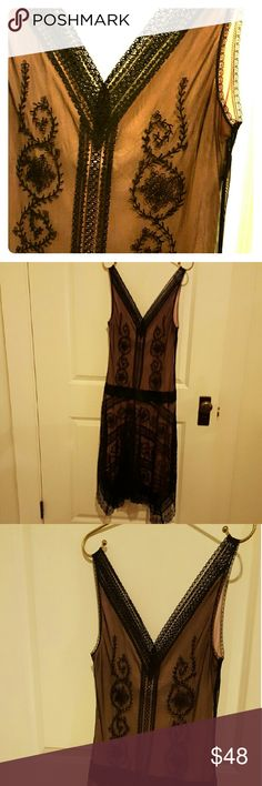 Sweet & sexy BCBG lingerie lace cocktail dress Flattering and forgiving cut; fine floral patterned black lace over pink built-in slip. It's gorgeous and easy to wear. V-cut neckline in front and back. Delicate lace straps sit at outer shoulder and don't slip down (at least not on me). Ankle length. Irregular hemline (lace corners). Very pretty. Great condition. BCBGMaxAzria Dresses Midi