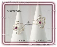 """Anello con iniziale """"E-G"""" Wire in Argento 925‰ e Swarovski / Ring Initial """"E-G"""" Wire Silver 925‰ with Swarovski"""