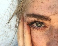 White, blonde, blue, green, long, freckled,