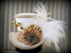 White Rabbit in Gold, Mini Top Hat, Alice in Wonderland, Mad Hatter Hat, Renaissance, Cog and Gear, Steampunk, Tea Party Hat, Bridal Shower