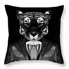 Tiger Throw Pillow Abstract Animal Pillows Custom Black Pillow Design by Filip Aleksandrov