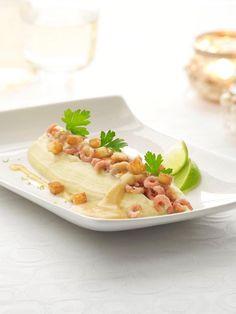 Aardappelmousseline met garnalen en een kreeftenbotersausje