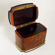 Antique French Signed TAHAN Paris Rosewood Parquetry Inlay Tea Caddy : The Antique Boutique ® | Ruby Lane Antique Wooden Boxes, French Signs, Parquetry, Foil Paper, Tea Caddy, Ruby Lane, French Antiques, Art Decor, Porcelain
