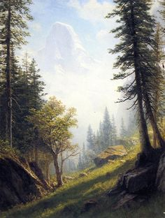 Global Gallery 'Among the Bernese Alps' by Albert Bierstadt Framed Painting Print Size: Landscape Art, Landscape Paintings, Oil Paintings, Edward Moran, Painting Frames, Painting Prints, Albert Bierstadt Paintings, Hudson River School, Oil Painting Reproductions