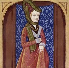 De mulieribus claris - Medieval art that looks surprisingly modern and Art Deco, to me, at least. Moda Medieval, Medieval Hats, Medieval Life, Medieval Costume, Medieval Fashion, Medieval Dress, Medieval Manuscript, Illuminated Manuscript, Historical Costume