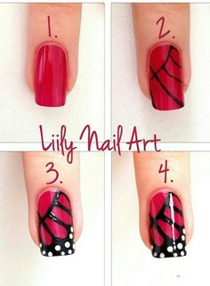 50 Cute & Easy Nail Art Tutorials Just For You You are a fan of nail art and always looking for new ideas manicure? You are at right place! Have beautiful manicured nails is essential for pretty girls who like to take care of it. Cute Simple Nails, Cute Nails, Pretty Nails, Nail Art Diy, Easy Nail Art, Easy Art, Lily Nails, Butterfly Nail Art, Butterfly Wings