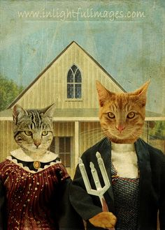 American Shorthair Gothic Tabby Cats Classic  5 x 7  NOVI AND ELLIOT