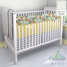 Crib bedding in Solid Banana, Teal Flower Garden, White Minky Chenille, White and Gray Zig Zag. Created using the Nursery Designer® by Carousel Designs where you mix and match from hundreds of fabrics to create your own unique baby bedding. #carouseldesigns