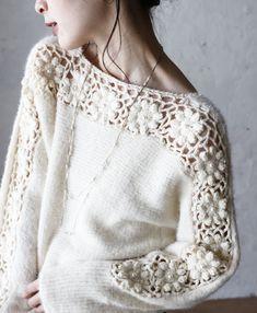 【楽天市場】■■「french」流れ咲く花コサージュのニットトップス (メール便不可):cawaii Knitting Stitches, Knitting Designs, Knitting Patterns, Knit Baby Sweaters, Girls Sweaters, Knitting Sweaters, Summer Knitting, Baby Knitting, Crochet Woman