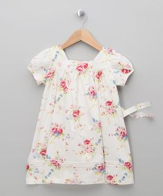 Another great find on #zulily! White Floral Dress - Infant, Toddler & Girls by Powell Craft #zulilyfinds