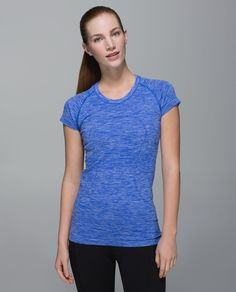 89e7043e39 Lululemon Run: Swiftly Tech Short Sleeve Crew - Space Dye Heathered Harbour  Blue