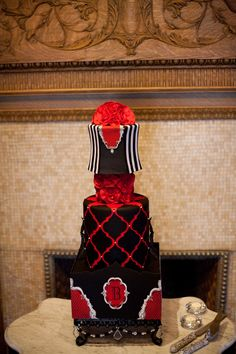 This cake just stands out! Love the red! Photo by Randi. #WeddingCakesMinneapolis #WeddingCakes