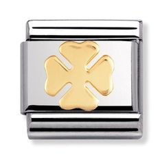 Nomination Silvershine - Four Leaf Clover Charm 330305 13 Nomination Charms, Nomination Bracelet, Good Luck Clover, Stainless Steel Types, Four Leaves, Classic Gold, Four Leaf Clover, Main Colors, Charmed