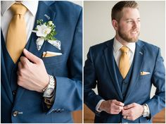 This elegant navy and gold Talia Event Center wedding brought together some of the best wedding vendors in Utah to create a wedding to inspire. Blue Suit Wedding, Wedding Dress, Wedding Groom, Wedding Men, Wedding Suits, Wedding Navy, Navy Groom, Groom And Groomsmen Attire, Costume Bleu Marine