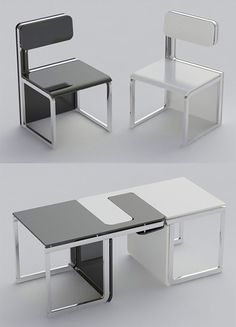 Chairs that double as a table.