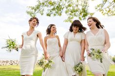 white bridesmaid dresses / Bouncing Light Photography / Borrowed & Bleu