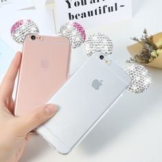 Luxury Rhinestone Ears Mickey Mouse Case For iPhone 6 6S Plus Case Transparent 3D Back Cover Coque For Iphone 6S 6 Plus Fundas