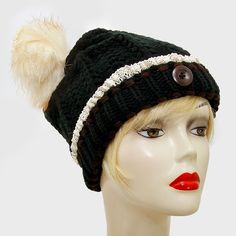 Black Knitted Lace Trim Buttoned and Fur Pom Pom Accent Beanie Winter Hat  Cap Head Warmer. Get the lowest price on Black Knitted Lace Trim Buttoned and Fur Pom Pom Accent Beanie Winter Hat  Cap Head Warmer and other fabulous designer clothing and accessories! Shop Tradesy now