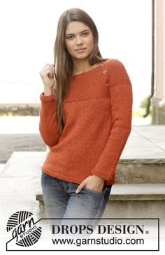 Knitted DROPS jumper in garter st with round yoke, worked top down in
