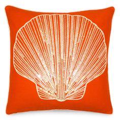 20x20 Fan Shell Down Pillow in Orange