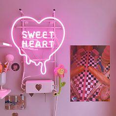 model home decor Neon Room Decor, Cute Room Decor, Bedroom Decor, Neon Bedroom, Trendy Bedroom, Aesthetic Room Decor, Pink Aesthetic, My New Room, My Room