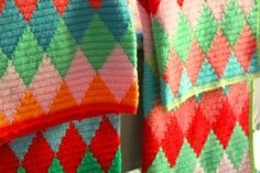Beautiful harlequin blankets made by little woollie. You can find her great tutorial for the harlequin tapestry crochet here http://littlewoollie.blogspot.ie/2013/08/tapestry-crochet-harlequin-pattern.html