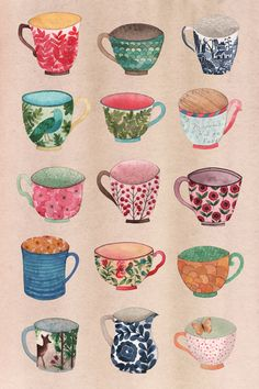 Cup o' Tea Art Print illustration Buch Design, Art Design, Tea Illustration, Illustrations, Guache, Tea Art, Painting Inspiration, Watercolor Art, Art Projects