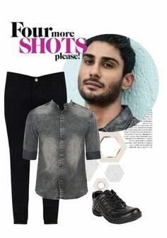 Wave Button Denim Shirt Blue Grain | Mens clothing styles