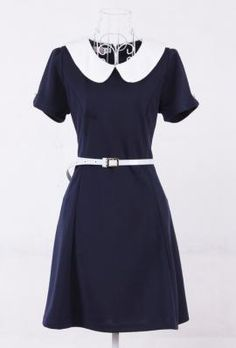 Past Due Peter Pan Collar Belted Dress in Navy Blue, Item #10066000L - $34.99, but OUT OF STOCK & large was the only size shown in the drop down list of sizes :(