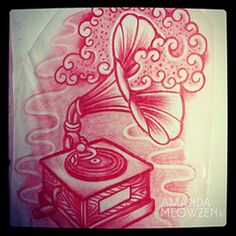 Gramophone with flowers tattoo - Google Search