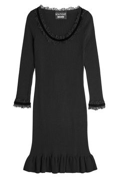 Boutique Moschino Ribbed Dress with Lace