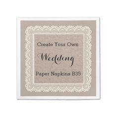 Create Your Own Rustic Burlap Look Paper Napkins  To see more Jaclinart rustic wedding, visit www.zazzle.com/... #rustic #wedding #fall #autumn #barn #lace #burlap
