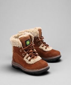 Little Kid Rust Faux Shearling Boot by John Deere. These are so cute! @Sam Curro I could see Colton in these!