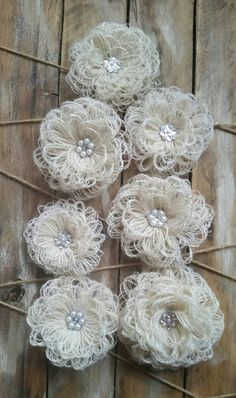 Burlap flower by MandKsDesigns on Etsy https://www.etsy.com/listing/264415867/burlap-flower