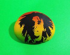 Bob Marley Logo Hand Painted Stone by Lefteris Kanetis. Find more at https://gr.pinterest.com/LefterisKanetis/