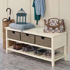 Cottage Ivory Shoe Bench   Dunelm
